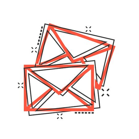 Email message icon in comic style. Mail document cartoon vector illustration on white isolated background. Message correspondence splash effect business concept.