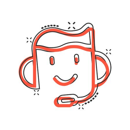 Helpdesk icon in comic style. Headphone cartoon vector illustration on white isolated background. Chat operator splash effect business concept. Vetores
