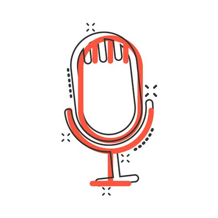 Microphone icon in comic style. Studio mike cartoon vector illustration on white isolated background. Audio record splash effect business concept.