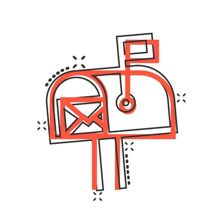 Mailbox icon in comic style. Postbox cartoon vector illustration on white isolated background. Email envelope splash effect business concept. Ilustrace