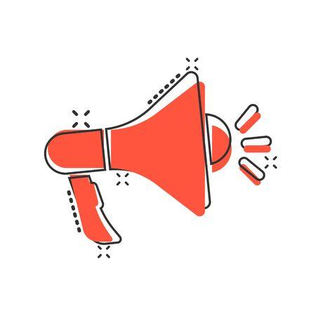 Megaphone speaker icon in comic style. Bullhorn sign cartoon vector illustration on white isolated background. Scream announcement splash effect business concept.