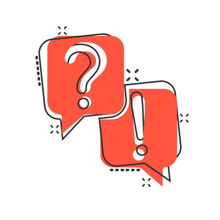 Question and answer icon in comic style. Dialog speech bubble cartoon vector illustration on white isolated background. Forum chat splash effect business concept.