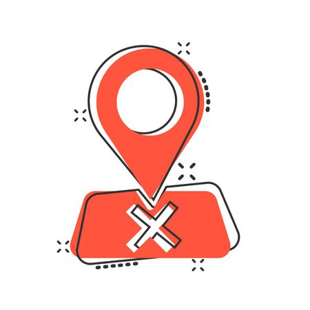 Map pin icon in comic style. GPS navigation cartoon vector illustration on white isolated background. Locate position splash effect business concept.