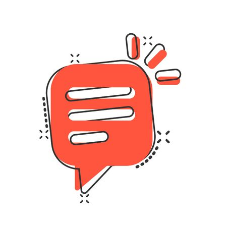 Speak chat sign icon in comic style. Speech bubbles cartoon vector illustration on white isolated background. Team discussion button splash effect business concept.