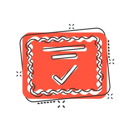 Approve certificate icon in comic style. Document check mark cartoon vector illustration on white isolated background. Approval choice splash effect business concept. Иллюстрация