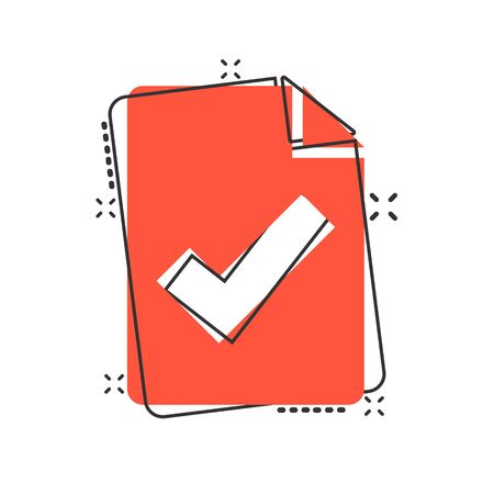Document checklist icon in comic style. Report cartoon vector illustration on white isolated background. Paper sheet splash effect business concept. Stok Fotoğraf - 147575120