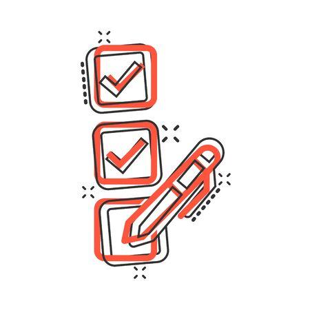 Checklist document icon in comic style. Survey cartoon vector illustration on white isolated background. Check mark choice splash effect business concept. Vektorgrafik