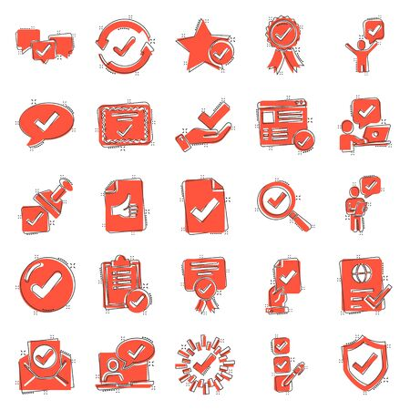 Approve icon set in comic style. Check mark cartoon vector illustration on white isolated background. Tick accepted splash effect business concept.