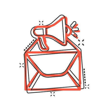 Envelope notification icon in comic style. Email with speaker cartoon vector illustration on white isolated background. Receive mail message splash effect business concept. Ilustrace