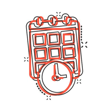 Calendar with clock icon in comic style. Agenda cartoon vector illustration on white isolated background. Schedule time planner splash effect business concept. Иллюстрация
