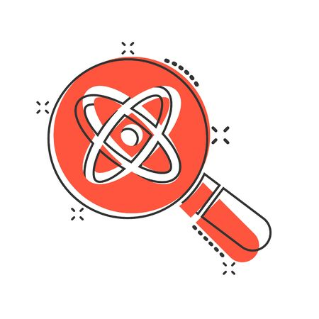 Science magnifier icon in comic style. Virus search cartoon vector illustration on white isolated background. Chemistry dna splash effect business concept.