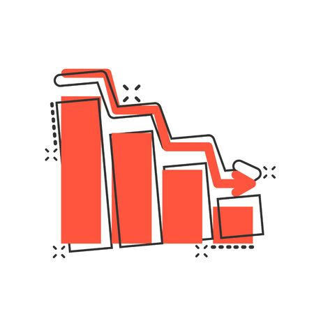 Market trend icon in comic style. Decline arrow with magnifier cartoon vector illustration on white isolated background. Decrease splash effect business concept.