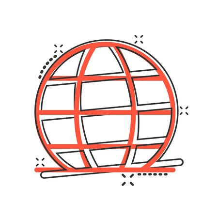 Earth planet icon in comic style. Globe geographic cartoon vector illustration on white isolated background. Global communication splash effect business concept. Illusztráció