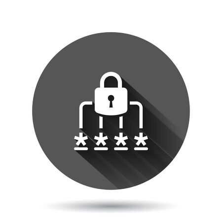 Login icon in flat style. Password access vector illustration on black round background with long shadow effect. Padlock entry circle button business concept.