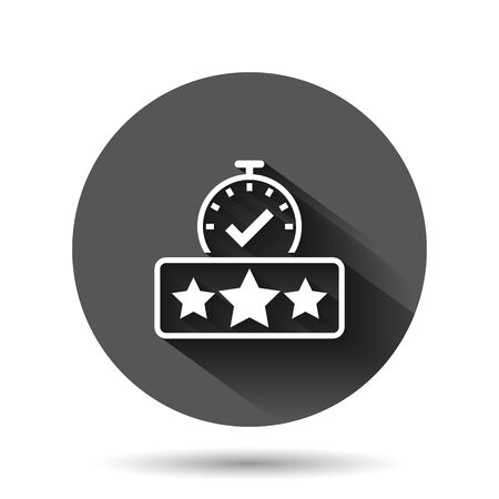 Rating result icon in flat style. Clock with stars vector illustration on black round background with long shadow effect. Satisfaction circle button business concept.