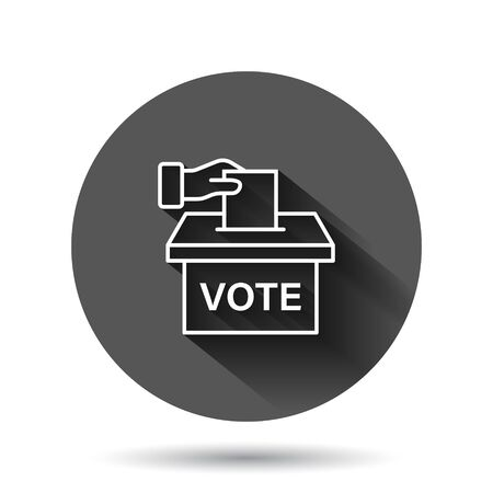 Vote icon in flat style. Ballot box vector illustration on black round background with long shadow effect. Election circle button business concept.