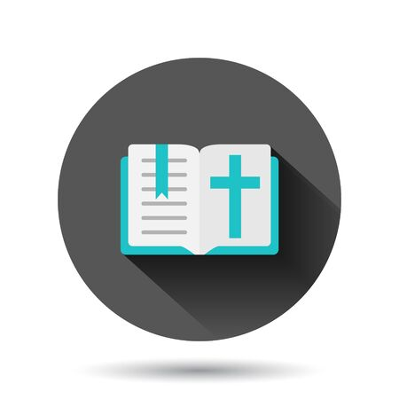 Bible book icon in flat style. Church faith vector illustration on black round background with long shadow effect. Spirituality circle button business concept.