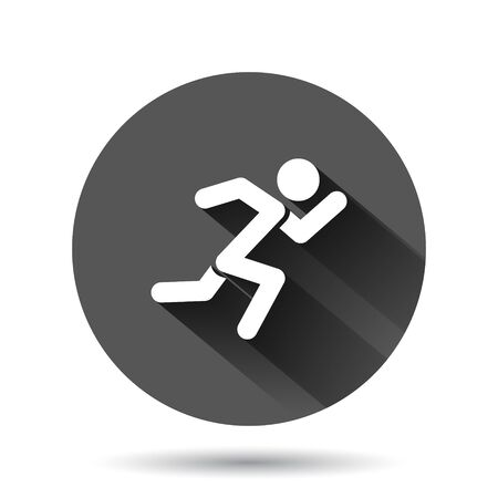 Run people icon in flat style. Jump vector illustration on black round background with long shadow effect. Fitness circle button business concept.