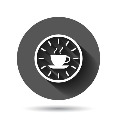 Coffee break icon in flat style. Clock with tea cup vector illustration on black round background with long shadow effect. Breakfast time circle button business concept.