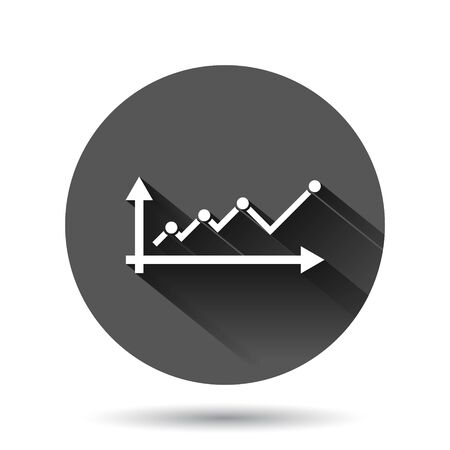 Market trend icon in flat style. Financial growth vector illustration on black round background with long shadow effect. Increase circle button business concept.