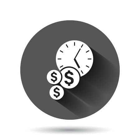 Time is money icon in flat style. Project management vector illustration on black round background with long shadow effect. Deadline circle button business concept.