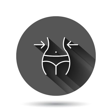 Weight loss icon in flat style. Belly vector illustration on black round background with long shadow effect. Athletic waist circle button business concept. 矢量图像