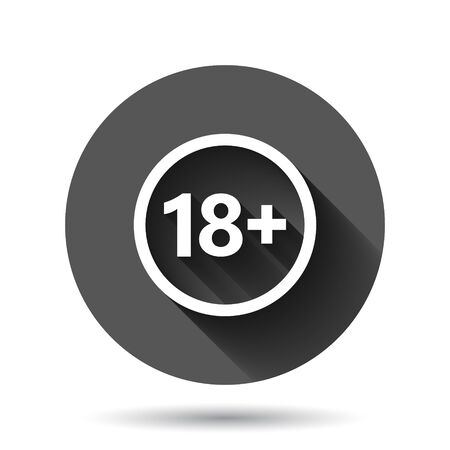 18 plus icon in flat style. Adult only vector illustration on black round background with long shadow effect. Forbidden child circle button business concept. Vettoriali