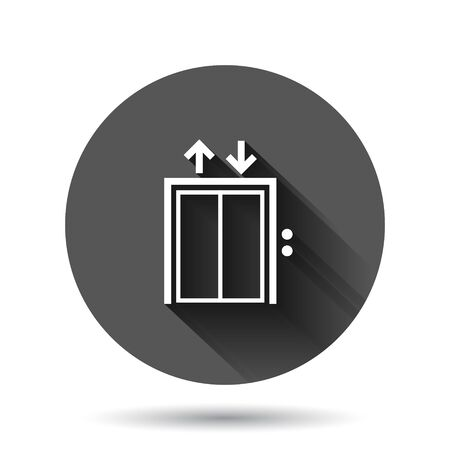 Elevator icon in flat style. Lift vector illustration on black round background with long shadow effect. Passenger transportation circle button business concept.