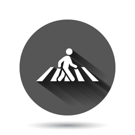 Pedestrian crosswalk icon in flat style. People walkway sign vector illustration on black round background with long shadow effect. Navigation circle button business concept.