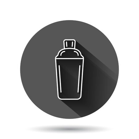 Shaker cocktail icon in flat style. Alcohol bottle vector illustration on black round background with long shadow effect. Bar drink circle button business concept.