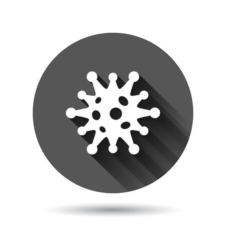 Coronavirus bacteria cell icon in flat style. Allergy vector illustration on black round background with long shadow effect. Microbe virus circle button business concept.