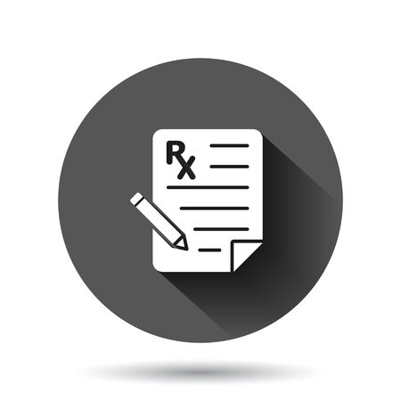 Prescription icon in flat style. Rx document vector illustration on black round background with long shadow effect. Paper circle button business concept.
