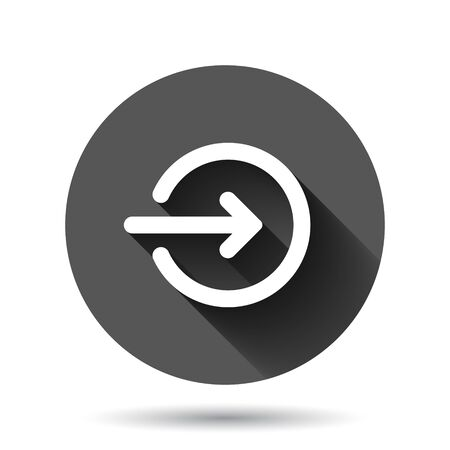 Login icon in flat style. Arrow access vector illustration on black round background with long shadow effect. Door entry circle button business concept.