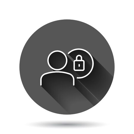 Login icon in flat style. People secure access vector illustration on black round background with long shadow effect. Password approved circle button business concept.