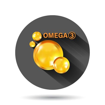 Omega 3 icon in flat style. Pill capcule vector illustration on black round background with long shadow effect. Oil fish circle button business concept.