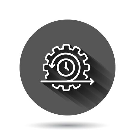 Agile icon in flat style. Flexible vector illustration on black round background with long shadow effect. Arrow cycle circle button business concept.