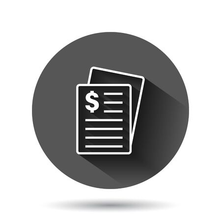 Financial statement icon in flat style. Document vector illustration on black round background with long shadow effect. Report circle button business concept. Vettoriali