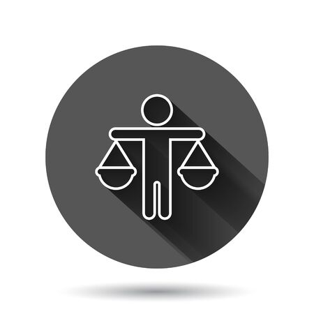 Ethic balance icon in flat style. Honesty vector illustration on black round background with long shadow. Decision circle button business concept. Vektorgrafik