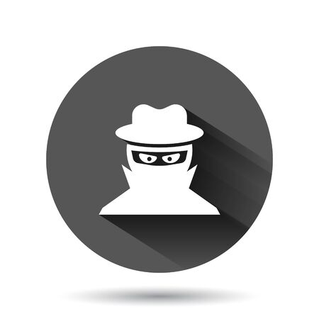 Fraud hacker icon in flat style. Spy vector illustration on black round background with long shadow. Cyber defend circle button business concept.