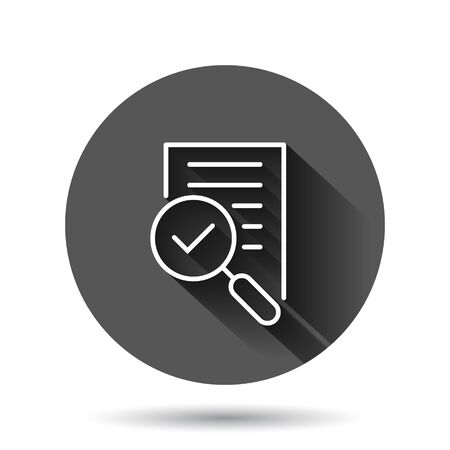 Financial statement icon in flat style. Result vector illustration on black round background with long shadow effect. Report circle button business concept.