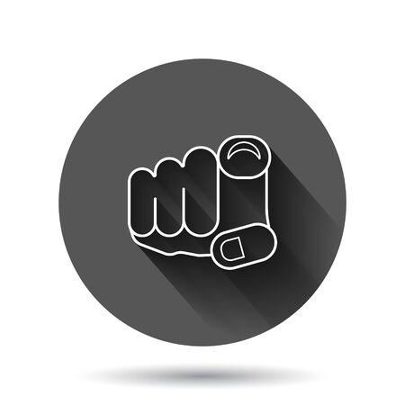 Finger point icon in flat style. Hand gesture vector illustration on black round background with long shadow effect. You forward circle button business concept.