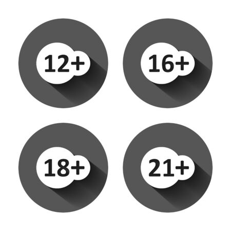 12, 16, 18, 21 plus icon in flat style. Censorship vector illustration on black round background with long shadow effect. Censored circle button business concept.