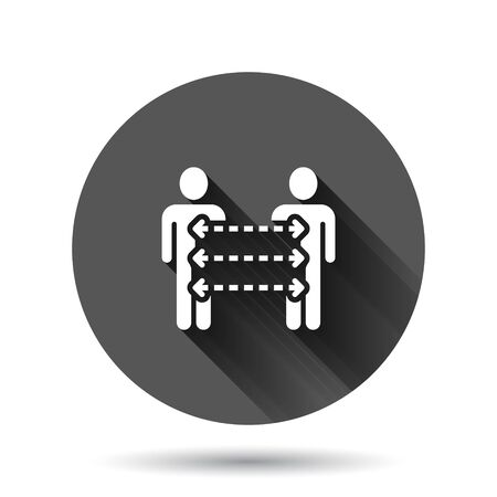 People referral icon in flat style. Business communication vector illustration on black round background with long shadow effect. Reference teamwork circle button business concept.