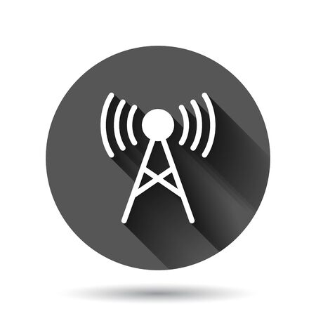Antenna tower icon in flat style. Broadcasting vector illustration on black round background with long shadow effect. Wifi circle button business concept.
