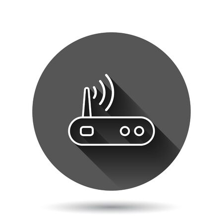 Wifi router icon in flat style. Broadband vector illustration on black round background with long shadow effect. Internet connection circle button business concept.  イラスト・ベクター素材