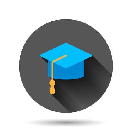 Graduation hat icon in flat style. Student cap vector illustration on black round background with long shadow effect. University circle button business concept.