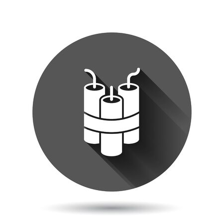 Bomb icon in flat style. Dynamite vector illustration on black round background with long shadow effect. C4 tnt circle button business concept.