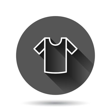 Tshirt icon in flat style. Casual clothes vector illustration on black round background with long shadow effect. Polo wear circle button business concept.