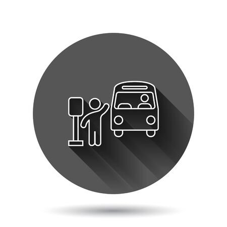 Bus station icon in flat style. Auto stop vector illustration on black round background with long shadow effect. Autobus vehicle circle button business concept.