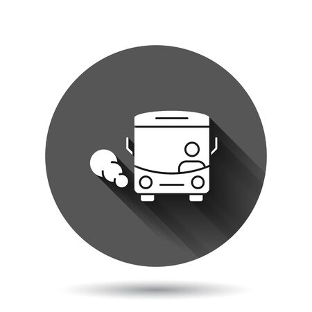 Bus icon in flat style. Coach vector illustration on black round background with long shadow effect. Autobus vehicle circle button business concept.